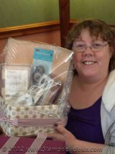The Lovely Jan Thomson with her basket of Stampin Up goodies!